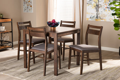 Baxton Studio Lovy Dining Set-Grey/Dark Walnut Lovy Modern and Contemporary Gray Fabric Upholstered Dark Walnut-Finished 5-Piece Wood Dining Set