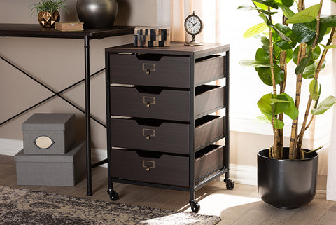 Baxton Studio BG1708B-Dark Brown Felix Modern and Contemporary Espresso Wood and Black Metal 4-Drawer Mobile File Cabinet