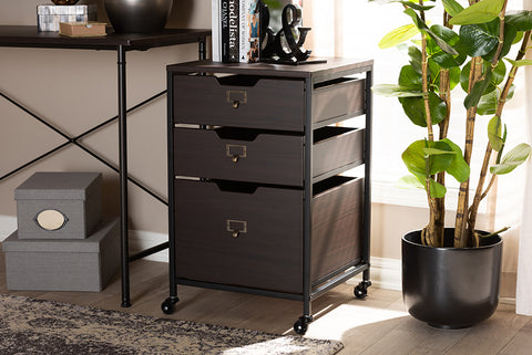 Baxton Studio BG1708A-Dark Brown Felix Modern and Contemporary Espresso Wood and Black Metal 3-Drawer Mobile File Cabinet