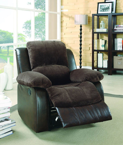 Homelegance 9700FCP-1PW Cranley Collection Color Chocolate Textured Plush Microfiber And Dark Brown Bi-Cast Vinyl - Peazz.com - 1