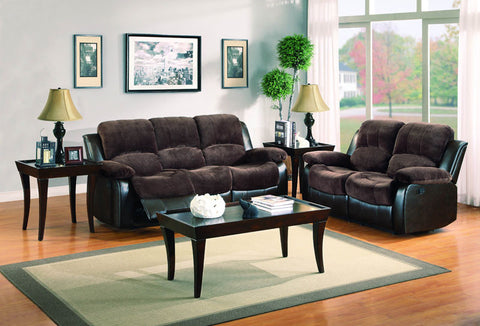 Homelegance 9700FCP-2PW Cranley Collection Color Chocolate Textured Plush Microfiber And Dark Brown Bi-Cast Vinyl - Peazz.com - 1