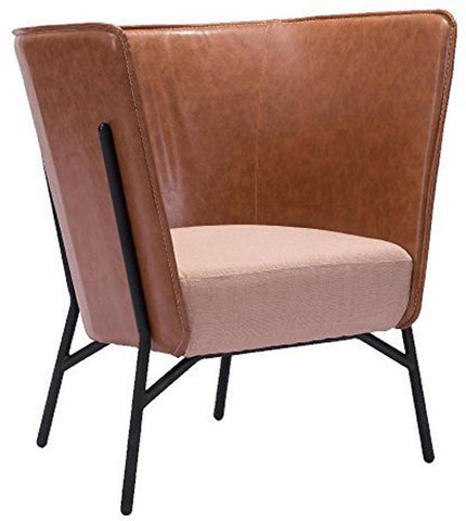 Zuo Modern 98087 Assange Occasional Chair Color Coffee & Beige Steel Finish - Peazz.com