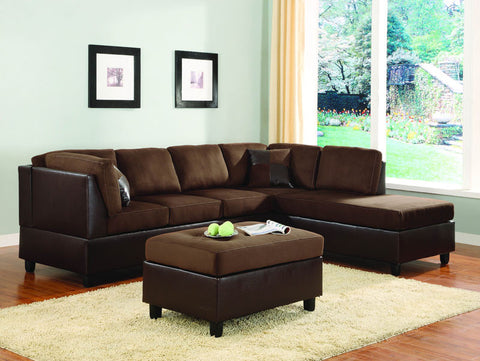 Homelegance 9909CH-3 Comfort Living Collection Color Chocolate Rhino Microfiber And Dark Brown Bi-Cast Vinyl - Peazz.com - 1