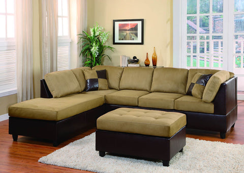Homelegance 9909BR-3 Comfort Living Collection Color Brown Rhino Microfiber And Dark Brown Bi-Cast Vinyl - Peazz.com - 1