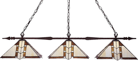 Z-Lite 99103BRZ-Z14-608 3 Light Island/Billiard Light Aztec Collection Multi-Coloured Tiffany Finish - ZLiteStore