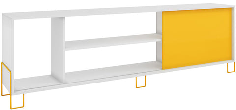 Accentuations by Manhattan Comfort Eye- catching Nacka TV Stand 1.0 with 4 Shelves and 1 Sliding Door in a White Frame and Yellow Door and Feet - Peazz.com - 1