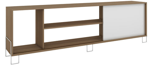Accentuations by Manhattan Comfort Eye- catching Nacka TV Stand 1.0 with 4 Shelves and 1 Sliding Door in an Oak Frame with a White Door and Feet - Peazz.com - 1
