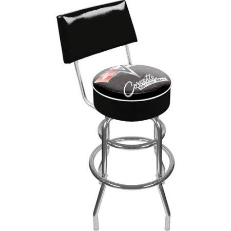 Gm1100B-C2-Cor Corvette C2 Black Padded Swivel Bar Stool With Back