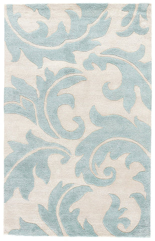 Jaipur Rugs RUG100620 Hand-Tufted Floral Pattern Wool/ Art Silk Ivory/Blue Area Rug ( 2x3 )