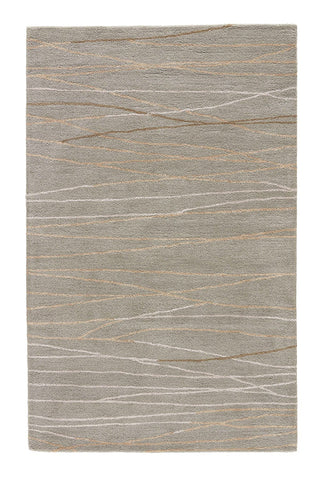 Jaipur Rugs RUG100740 Hand-Tufted Abstract Pattern Wool/ Art Silk Gray/Ivory Area Rug ( 2x3 )