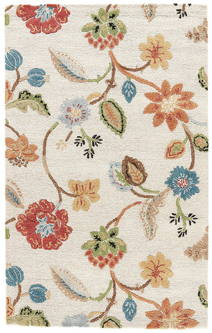 Jaipur Rugs RUG100450 Hand-Tufted Floral Pattern Wool/ Art Silk Ivory/Multi Area Rug ( 2.6x8 )