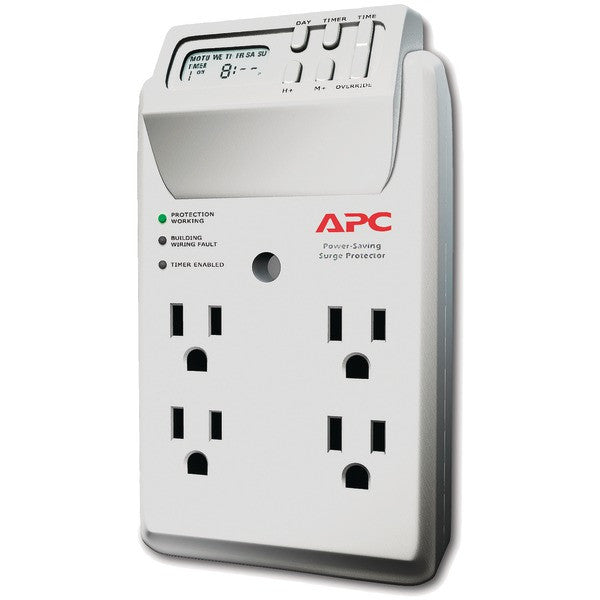 Apc P4gc 4-outlet Energy-saving Surge Protector Wall Tap With Lcd Timer