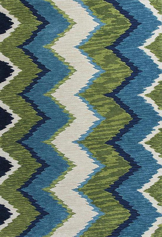 "KAS Rugs Anise 2420 Blue/Green Chevron Hand-Hooked 100% Space-dyed Polyester 5'6"" Round"
