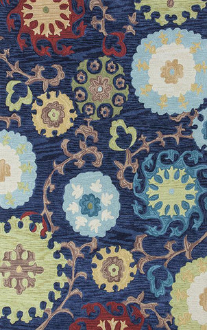 "KAS Rugs Anise 2422 Navy Courtney Hand-Hooked 100% Space-dyed Polyester 3'3"" x 5'3"""