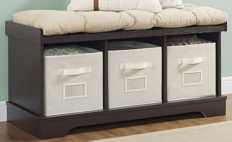 """Walker Edison B42STCES 42"""" Wood Storage Bench with Totes and Cushion Espresso Finish WAL-B42STCES"""