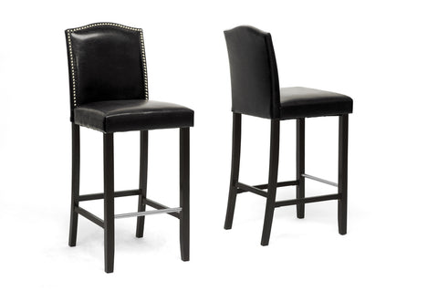 Baxton Studio BBT5111 Bar Stool-Black Libra Black Modern Bar Stool with Nail Head Trim (Set of 2)