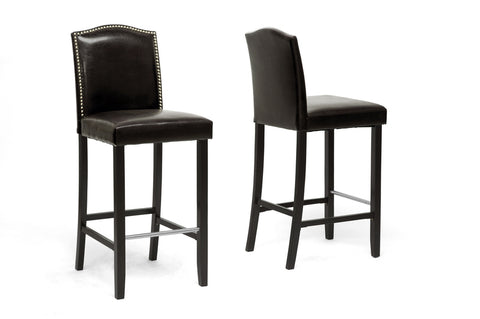 Baxton Studio BBT5111 Bar Stool-Brown Libra Dark Brown Modern Bar Stool with Nail Head Trim (Set of 2)