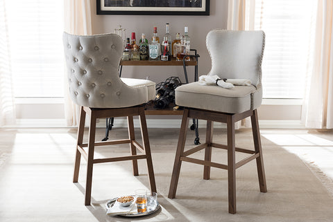 Baxton Studio BBT5246B-BS-Light Beige-6086-1 Gradisca Modern and Contemporary Brown Wood Finishing and Light Beige Fabric Button-Tufted Upholstered Swivel Barstool