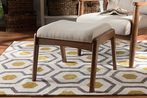 Baxton Studio BBT5266-Light Beige-Stool-6086-1 Roxy Mid-Century Modern Walnut Wood Finishing and Light Beige Fabric Upholstered Ottoman