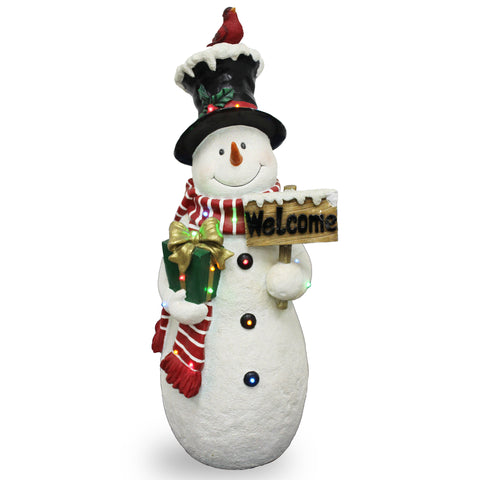 "National Tree BG-17815B 28.5"" White Snowman with Sign and 17 Multi LED lights"