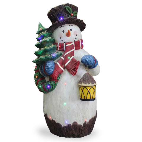 "National Tree BG-18918A 36"" Snowman holding Tree with 25 Multi LED Lights"