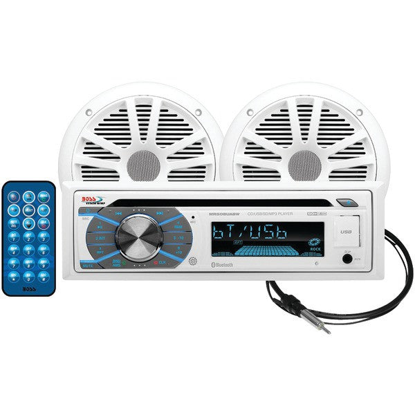 Boss Audio Systems Mck508wb.6 Marine Single-din In-dash Mp3-compatible Cd Am/fm Receiver With Bluetooth & 2 Speakers