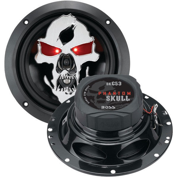 "Boss Audio Systems SK653 Phantom Skull Series 3-Way Black Injection Cone Speakers with Custom-Tooled Removable Skull Covers (6.5"") PTR-BOSSK653"