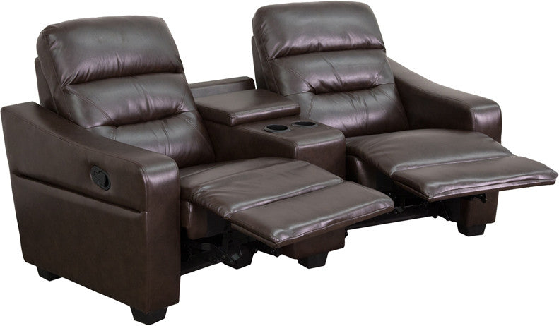 Flash Furniture BT-70380-2-BRN-GG Futura Series 2-Seat Reclining Brown Leather Theater Seating Unit with Cup Holders FLA-BT-70380-2-BRN-GG
