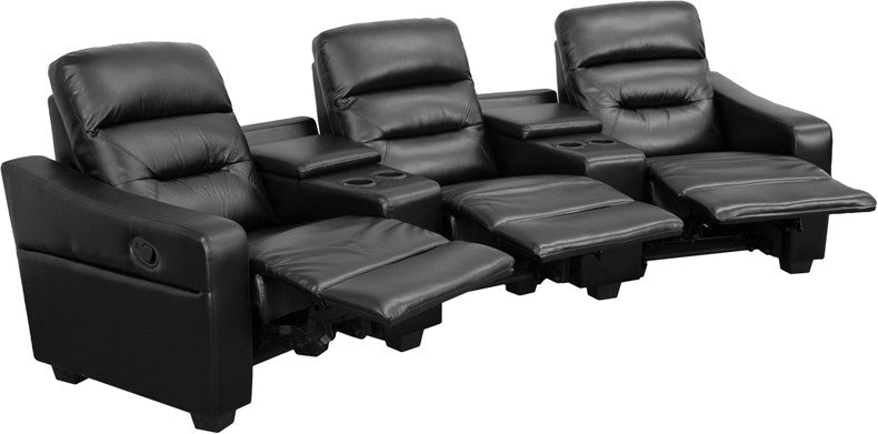 Flash Furniture BT-70380-3-BK-GG Futura Series 3-Seat Reclining Black Leather Theater Seating Unit with Cup Holders