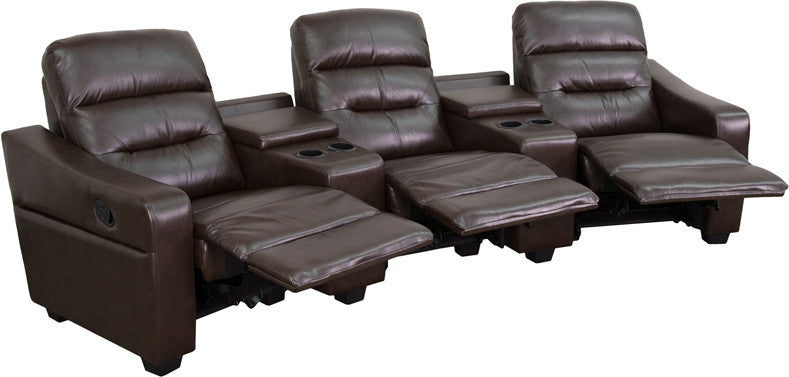 Flash Furniture BT-70380-3-BRN-GG Futura Series 3-Seat Reclining Brown Leather Theater Seating Unit with Cup Holders FLA-BT-70380-3-BRN-GG