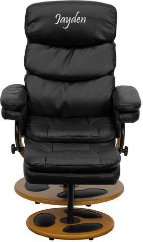 Flash Furniture BT-7828-PILLOW-TXTEMB-GG Personalized Contemporary Black Leather Recliner and Ottoman with Wood Base - Peazz.com