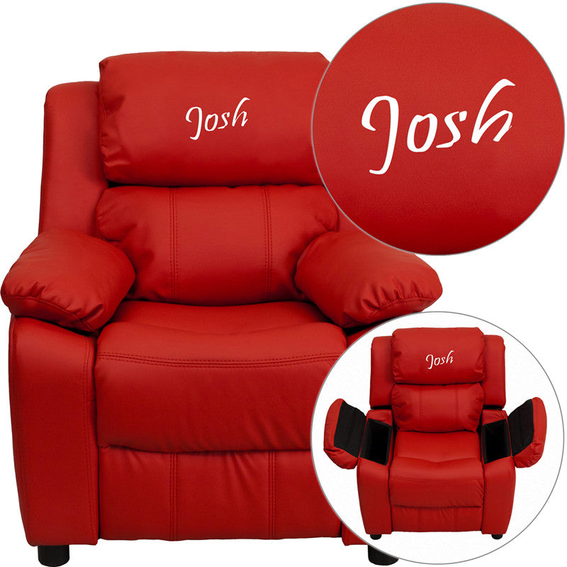 Flash Furniture BT-7985-KID-RED-TXTEMB-GG Personalized Deluxe Padded Red Vinyl Kids Recliner with Storage Arms