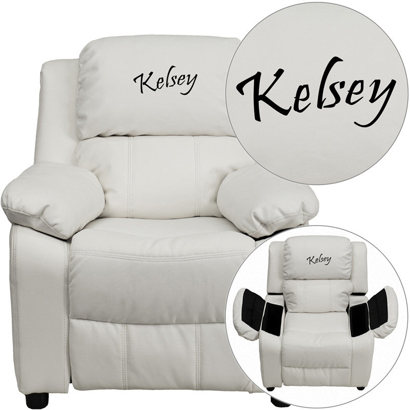Flash Furniture BT-7985-KID-WHITE-TXTEMB-GG Personalized Deluxe Padded White Vinyl Kids Recliner with Storage Arms