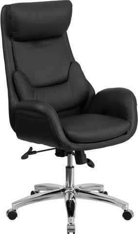 Flash Furniture BT-90027OH-GG High Back Black Leather Executive Swivel Office Chair with Lumbar Pillow - Peazz.com - 1