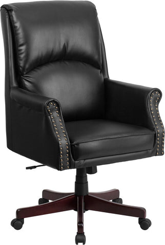 Flash Furniture BT-9025H-2-GG High Back Pillow Back Black Leather Executive Swivel Office Chair - Peazz.com - 1