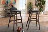 Baxton Studio Bloom Barstool-Black PVC Bloom Mid-century Retro Modern Scandinavian Style Black Faux Leather Upholstered Walnut Wood Finishing 30-Inches Bar Stool (Set of 2)