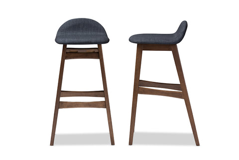Baxton Studio Bloom Barstool-Dark Blue Bloom Mid-century Retro Modern Scandinavian Style Dark Blue Fabric Upholstered Walnut Wood Finishing 30-Inches Bar Stool (Set of 2)