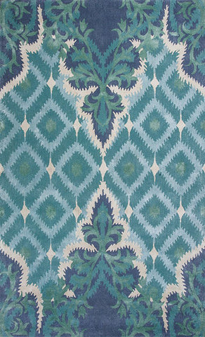 "KAS Rugs Bob Mackie Home 1007 Blue/Green Opulence Hand-Tufted Wool & Viscose Blend 7'6"" Round"