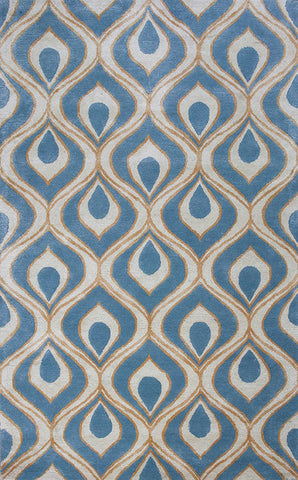 "KAS Rugs Bob Mackie Home 1019 Blue Eye Of The Peacock Hand-Tufted Wool & Viscose Blend 3'3"" x 5'3"""