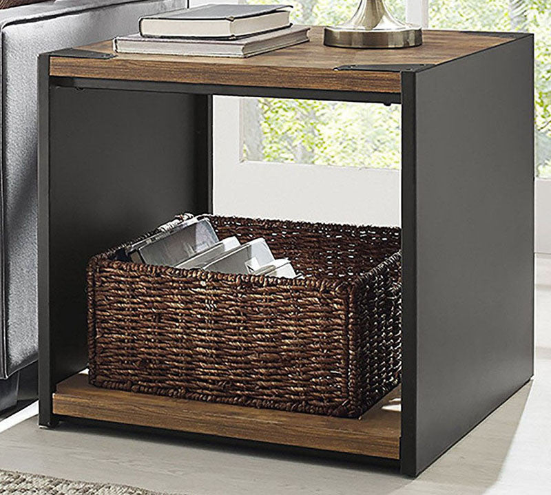 """Walker Edison C24SPSTRW 24"""" Steel Plate and Wood Side Table Brown Finish WAL-C24SPSTRW"""