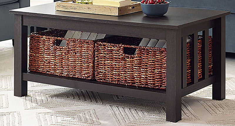 """Walker Edison C40MSTES 40"""" Wood Storage Coffee Table with Totes Espresso Finish WAL-C40MSTES"""