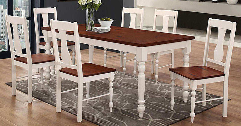 Walker Edison C60WTLWBN 7-Piece Two Toned Solid Wood Dining Set Brown White Finish WAL-C60WTLWBN