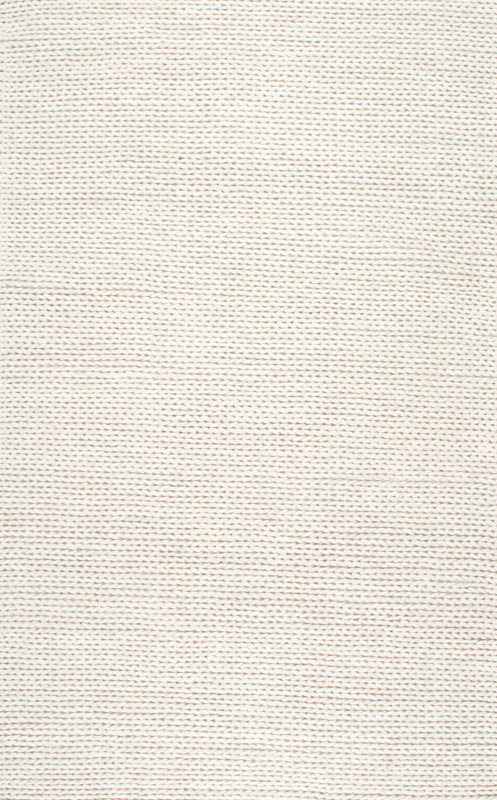White Hand Woven Chunky Woolen Cable Rug Textures