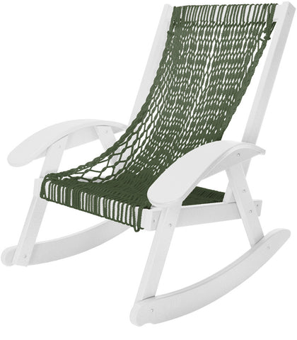 Pawleys Island Hammocks CCSRGWH Coastal Duracord White Rocker-Green Rope (W 31.5 x H 36.5 in.) - Peazz.com