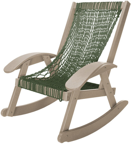 Pawleys Island Hammocks CCSRGWW Coastal Duracord Weatherwood Rocker-Green Rope (W 31.5 x H 36.5 in.) - Peazz.com