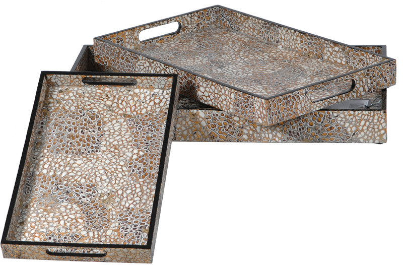 Crestview Collection CEVV0092 Tray Mdf Set/3 With Shell Egg L:19 X 12 X 2 M:16 X 10 X 1.65 S:13 X 8 X 1.5