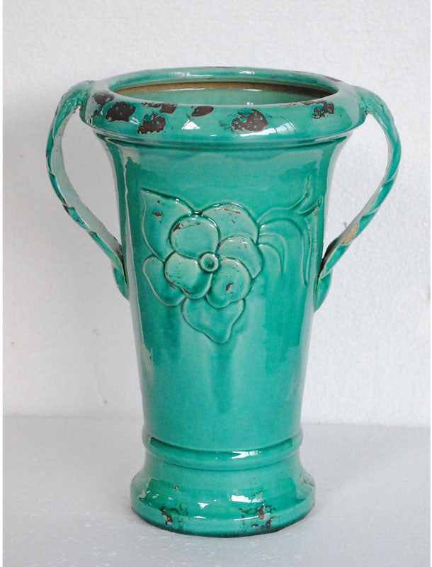 Crestview Collection CEVV0149 Ceramic Vase With Handles 11.42 X 9.06 X 14.17H