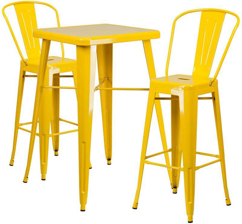 Flash Furniture CH-31330B-2-30GB-YL-GG 23.75'' Square Yellow Metal Indoor-Outdoor Bar Table Set with 2 Barstools - Peazz.com