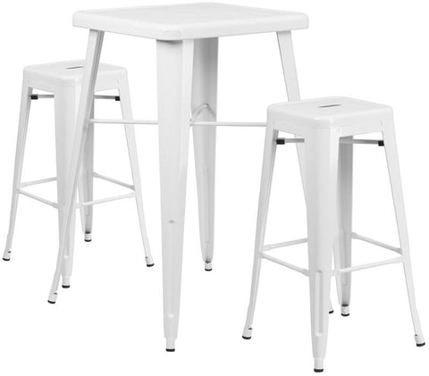 Flash Furniture CH-31330B-2-30SQ-WH-GG 23.75'' Square White Metal Indoor-Outdoor Bar Table Set with 2 Backless Barstools - Peazz.com
