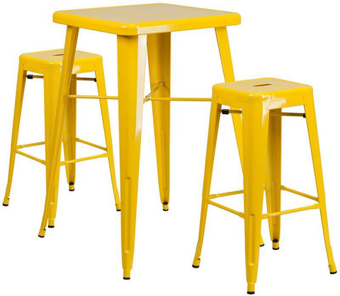 Flash Furniture CH-31330B-2-30SQ-YL-GG 23.75'' Square Yellow Metal Indoor-Outdoor Bar Table Set with 2 Backless Barstools - Peazz.com